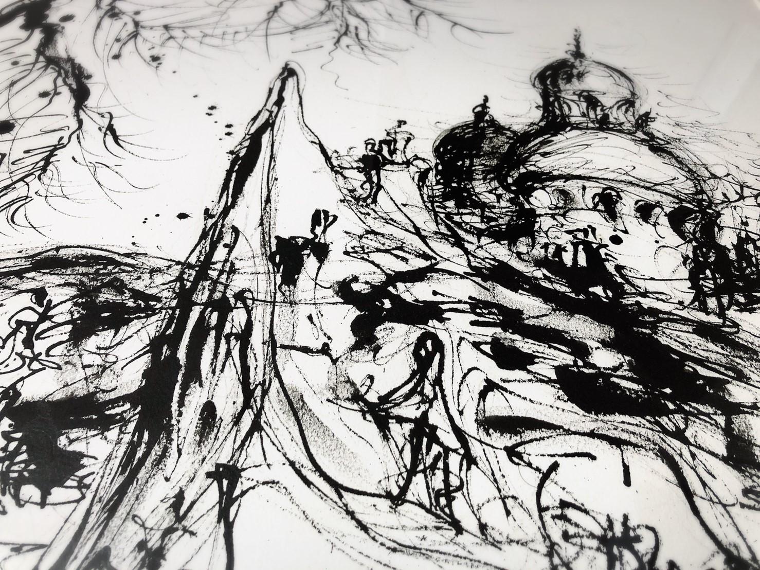 浜松の画家・鈴木康雄さんの絵「巡礼の街 フランス」